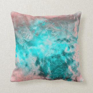 Monstera Leaf Tropical Metallic Glass Pink Aqua Cushion