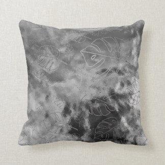 Monstera Leaf Tropical Metallic Glass Silver Gray Cushion