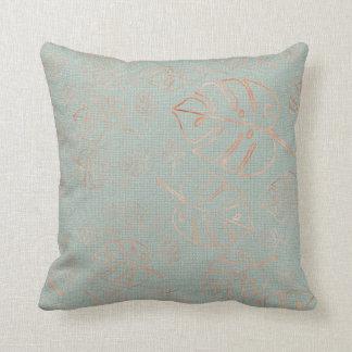 Monstera Leaf Tropical  Pink Blush Mint Copper Cushion