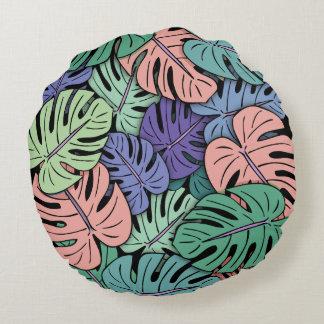Monstera Leaves #8 Round Cushion