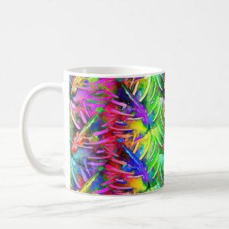 MONSTERA LEAVES PSYCHEDELIC AUTUMN RAINBOW COFFEE MUG