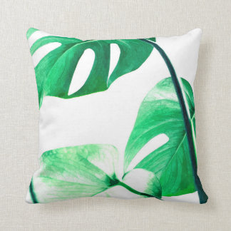 Monstera leaves tropical palm watercolor cushion