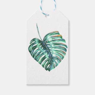 Monstera leaves tropical summer foliage gift tags