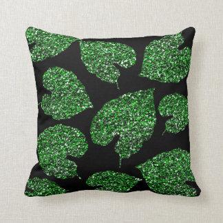 Monstera Tropical Cali Green Leaf Botanical Black Cushion