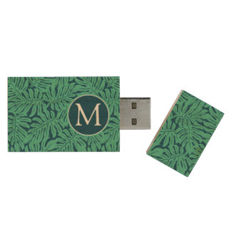 Monstera Tropical Leaf Pattern | Monogram Wood USB 2.0 Flash Drive