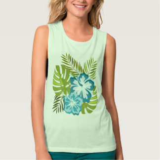 Monstera tropical leafs and hibiscu singlet