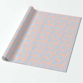 Monstera Tropical Pastel Coral & Lavender Pattern Wrapping Paper