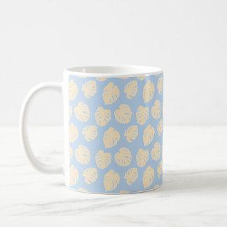 Monstera Tropical Pastel Lavender & Lemon Pattern Coffee Mug