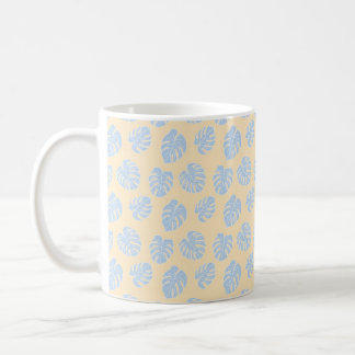 Monstera Tropical Pastel Lemon & Lavender Pattern Coffee Mug