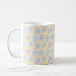 Monstera Tropical Pastel Lemon & Lavender Pattern Coffee Mug