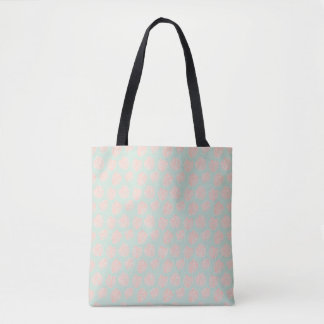 Monstera Tropical Pastel Mint & Coral Pattern Tote Bag
