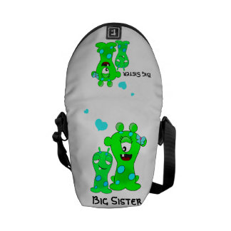 Monsters, Big Sister, Little Brother Cartoon Courier Bags