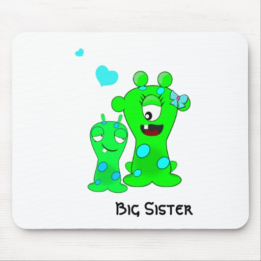 Monsters, Big Sister, Little Brother Cartoon Mousepads