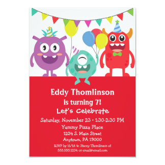 Monsters Birthday Invitation Boys Colorful Monster