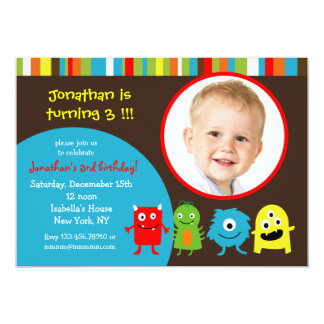 Monsters Birthday Party Invitaitons with Photo 13 Cm X 18 Cm Invitation Card