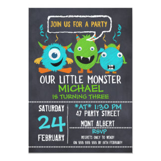 Monsters Chalkboard Birthday Party Invitation