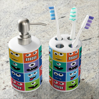 Monsters Pattern Monster Faces Kids Colorful Funny Soap Dispenser And Toothbrush Holder