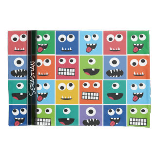Monsters Pattern Monster Faces Personalized Kids Pillowcase