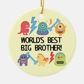 Monsters World's Best Big Brother Round Ceramic Decoration