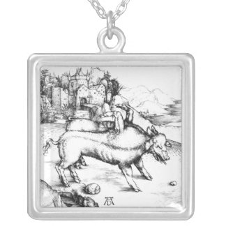 Monstrous Pig Silver Plated Necklace