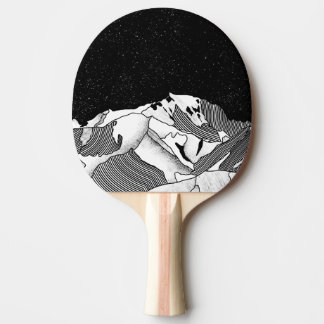 Mont Blanc black and white mountain Ping Pong Paddle