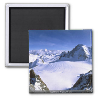 Mont Blanc, France Winter Square Magnet