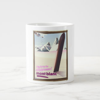 mont blanc Snowboarding travel poster. Large Coffee Mug