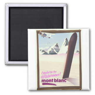 mont blanc Snowboarding travel poster. Magnet