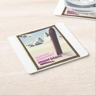 mont blanc Snowboarding travel poster. Square Paper Coaster