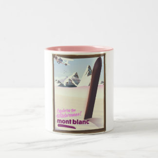 mont blanc Snowboarding travel poster. Two-Tone Coffee Mug