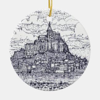 mont saint-michel ceramic ornament