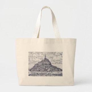 mont saint-michel large tote bag