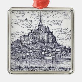 mont saint-michel metal ornament