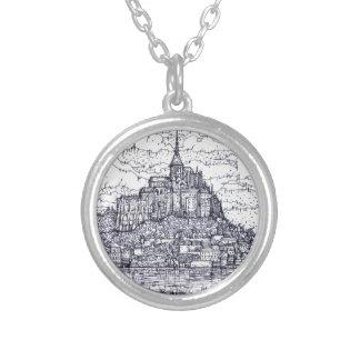 mont saint-michel silver plated necklace