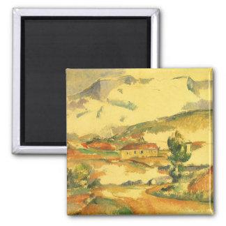 Mont Sainte Victoire by Paul Cezanne, Vintage Art Square Magnet
