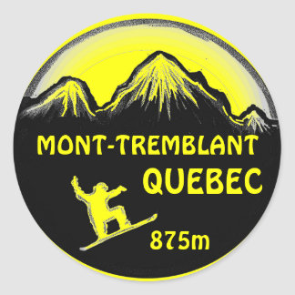 Mont Tremblant Quebec yellow snowboard art sticker