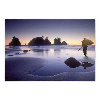 Montage of man carrying kayak, ShiShi Beach, Photo Print