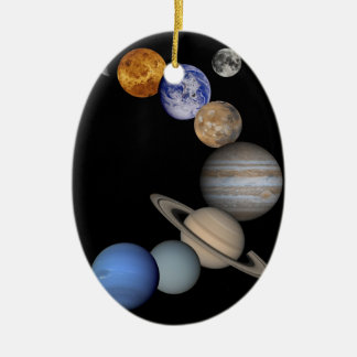 Montage of Planets in Space Ceramic Ornament