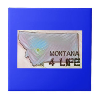 """Montana 4 Life"" State Map Pride Design Ceramic Tile"