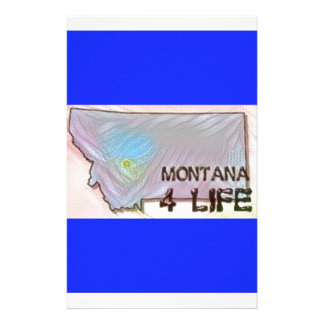 """""""Montana 4 Life"""" State Map Pride Design Customized Stationery"""