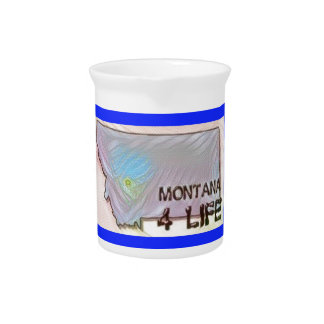 """""""Montana 4 Life"""" State Map Pride Design Drink Pitchers"""