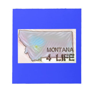 """Montana 4 Life"" State Map Pride Design Notepad"
