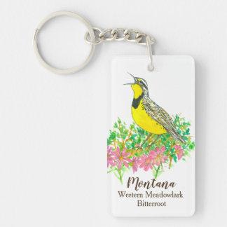 Montana Bitterroot Western Meadowlark Watercolor Key Ring