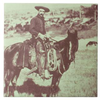 Montana Cowboy, c.1880 (b/w photo) Tile