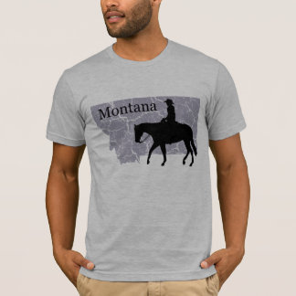 Montana Cowboy Grunge Map Mens Grey T-shirt