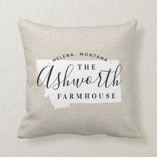 Montana Family Monogram State Throw Pillow