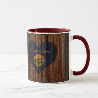 Montana Flag Heart on Wood theme Mug