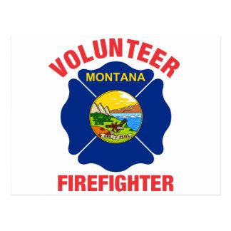 Montana Flag Volunteer Firefighter Cross Postcards