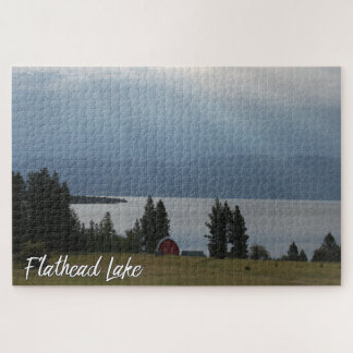 Montana Flathead Lake Shore Red Barn Trees Jigsaw Puzzle