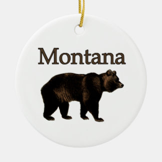 Montana Grizzly Bear Ceramic Ornament